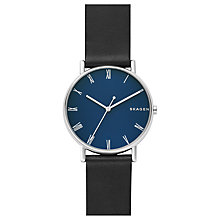 Buy Skagen SKW6434 Men's Signatur Roman Numerals Leather Strap Watch, Black/Blue Online at johnlewis.com