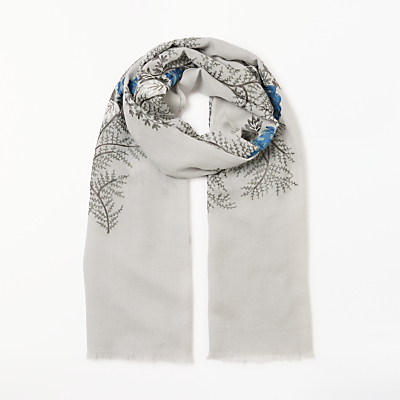 Modern Rarity Archive Embroidery Wool Scarf, Grey Mix