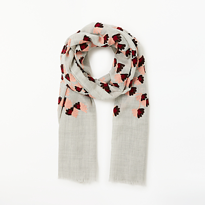 Modern Rarity Fan Floral Embroidery Wool Scarf, Grey Mix