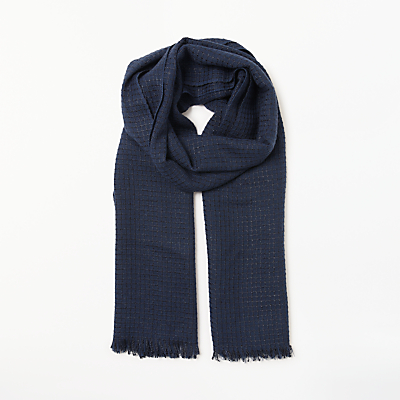 Collection WEEKEND by John Lewis Grid Texture Scarf, Navy