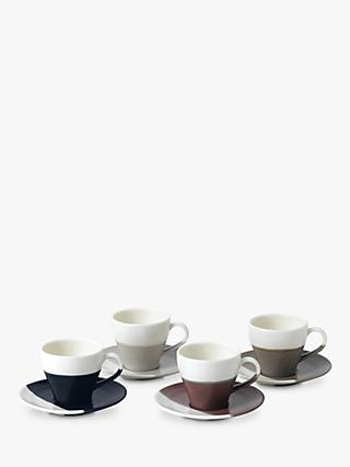 Royal Doulton Coffee Studio Espresso Cups and Saucers, White/Multi, 110ml, Set of 4
