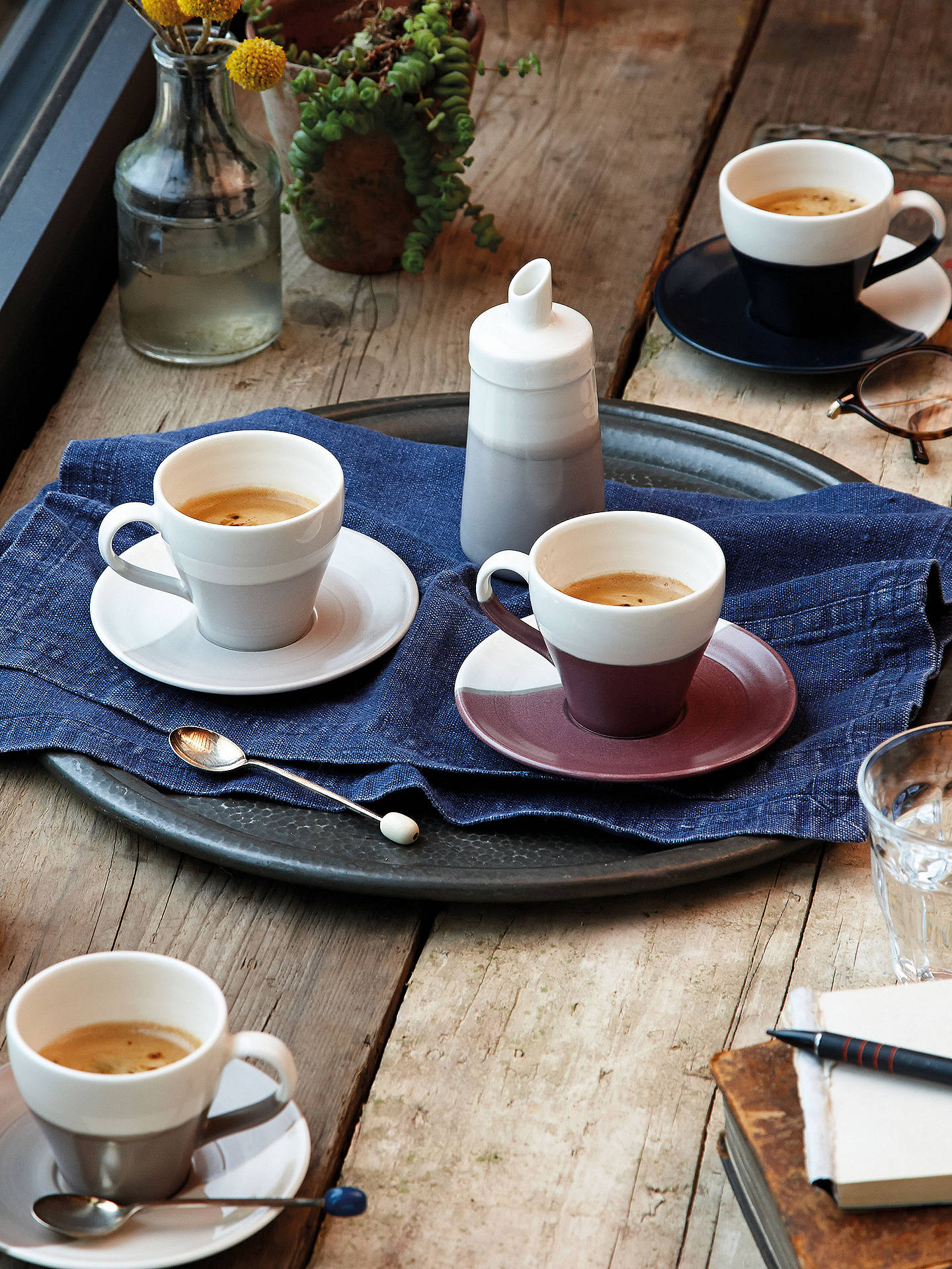 BuyRoyal Doulton Coffee Studio Espresso Cups and Saucers, White/Multi, 256ml, Set of 4 Online at johnlewis.com