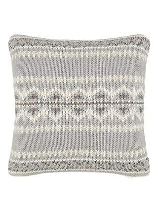 John Lewis & Partners Fairisle Knit / Fur Cushion, ...