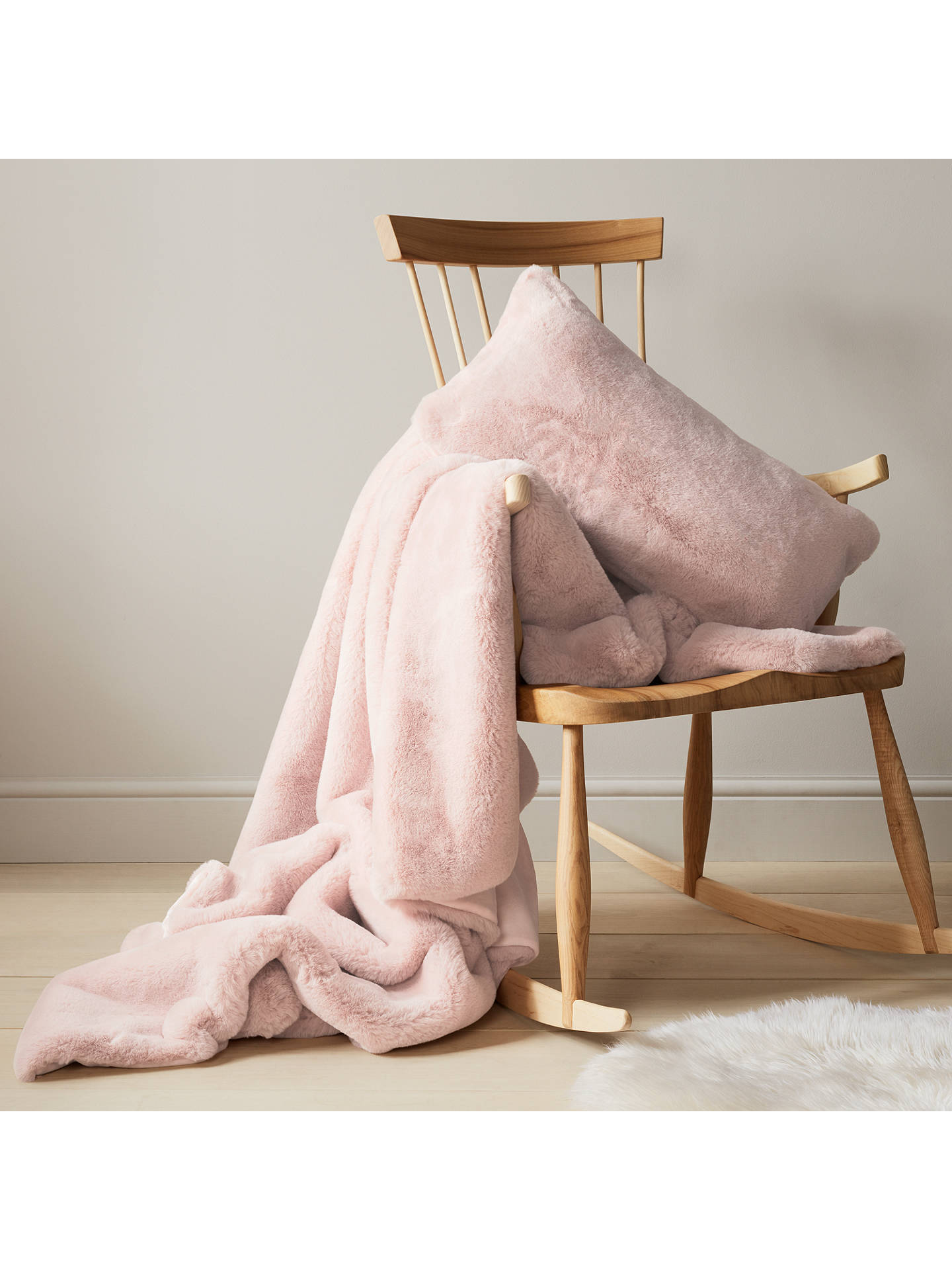 Buy John Lewis & Partners Fux Fur Cushion, Soft Pink Online at johnlewis.com