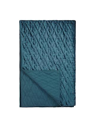 John Lewis Partners Teora Velvet Bedspread Carbon Blue