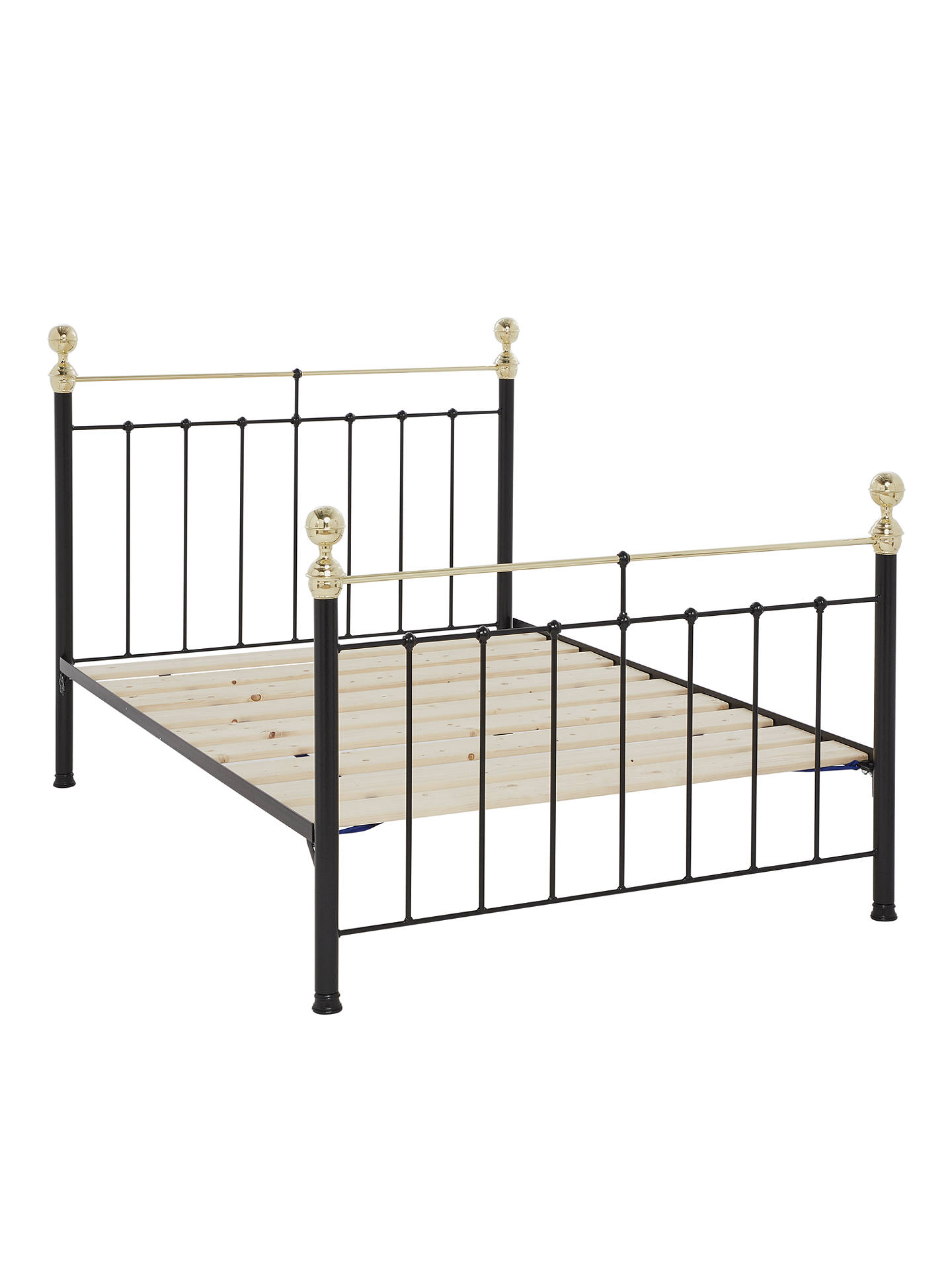 Wrought Iron And Brass Bed Co. Albert Bed Frame, Double, Black at ...