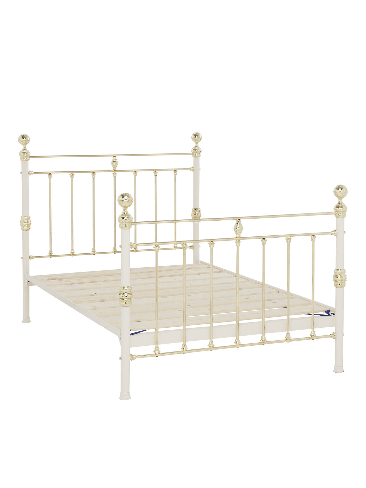 Wrought Iron And Brass Bed Co. George Bed Frame, Double, Ivory at ...