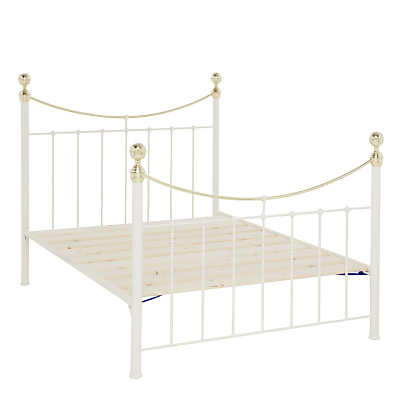 Wrought Iron And Brass Bed Co. Victoria Bed Frame, Double, Ivory