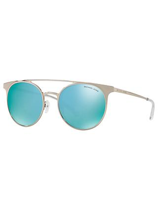Michael Kors MK1030 Women's Grayton Round Sunglasses, Silver/Mirror Blue