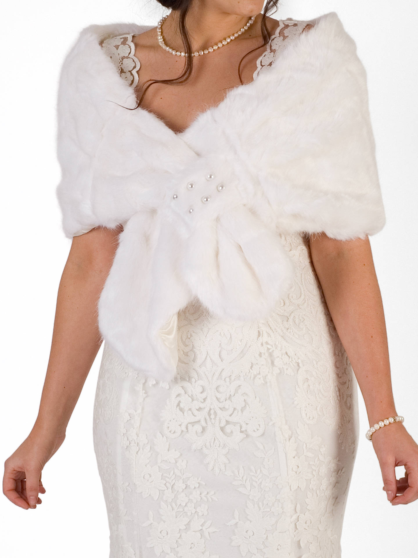 BuyChesca Faux Fur Pearl Wrap, Ivory Online at johnlewis.com