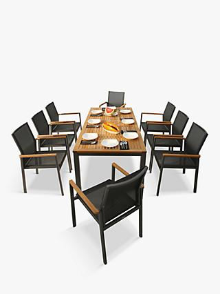 Barlow Tyrie Aura 8-Seater Garden Dining Table and Stacking Armchairs Set, FSC-Certified (Teak), Graphite/Charcoal