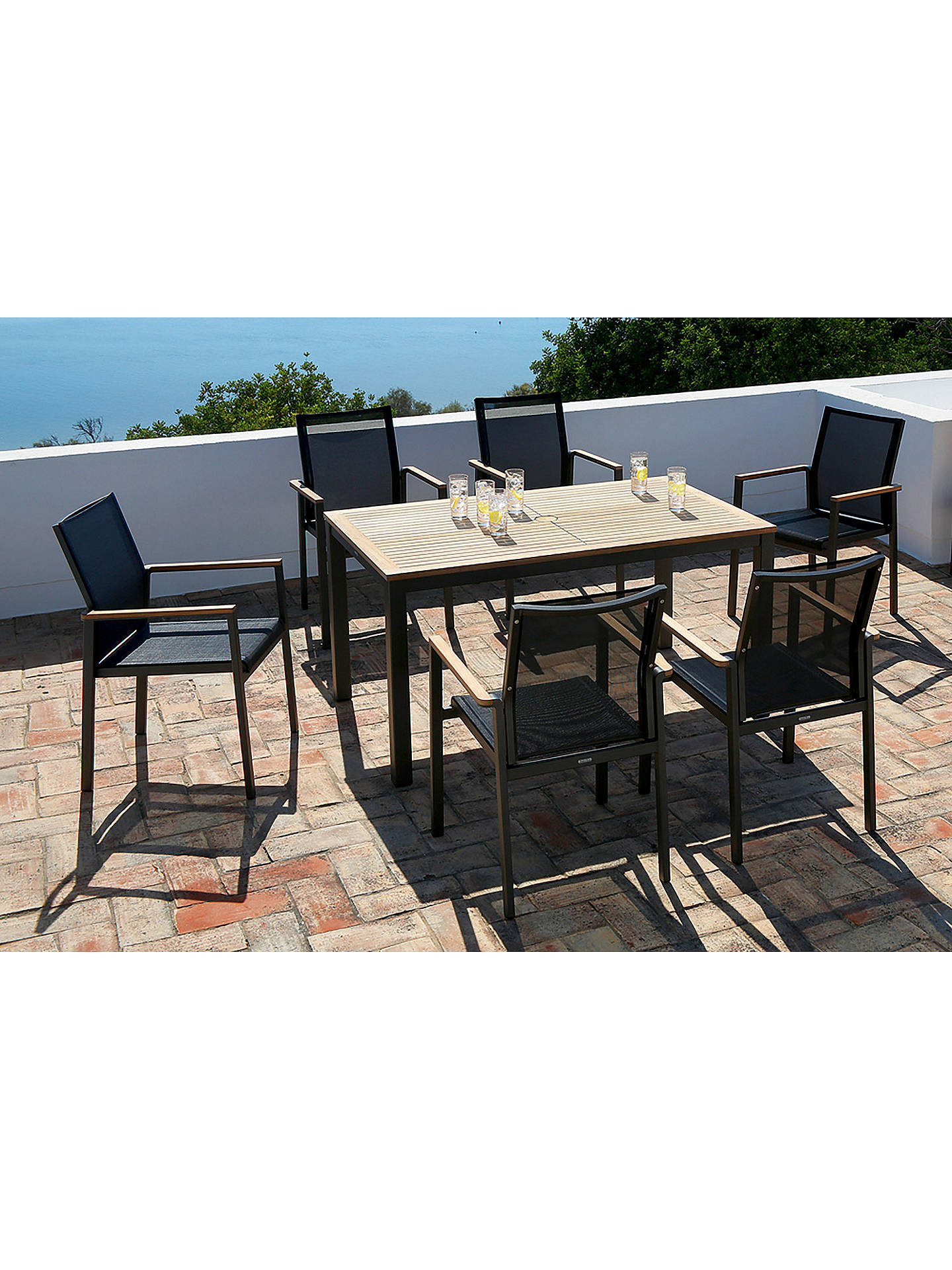 Buy Barlow Tyrie Aura 6-Seater Teak Wood Garden Dining Table and Stacking Armchairs Set, Graphite/Charcoal Online at johnlewis.com