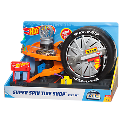 Hot Wheels City Super Spin Tire Shop Play Set
