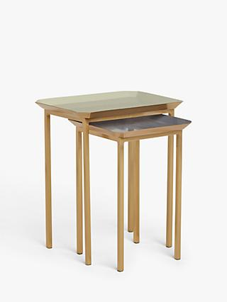 Side tables small tables john lewis partners john lewis partners aslan square nest of 2 tables light greyblue watchthetrailerfo