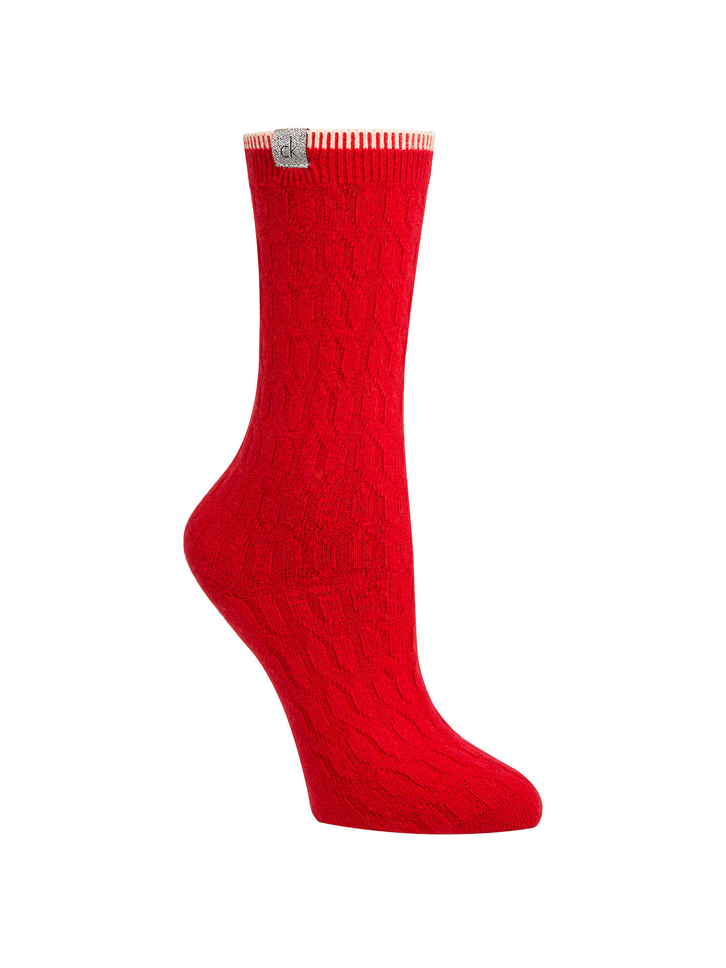 Buy Calvin Klein Holiday Cable Knit Gift Wrap Ankle Socks, Crimson Online at johnlewis.com