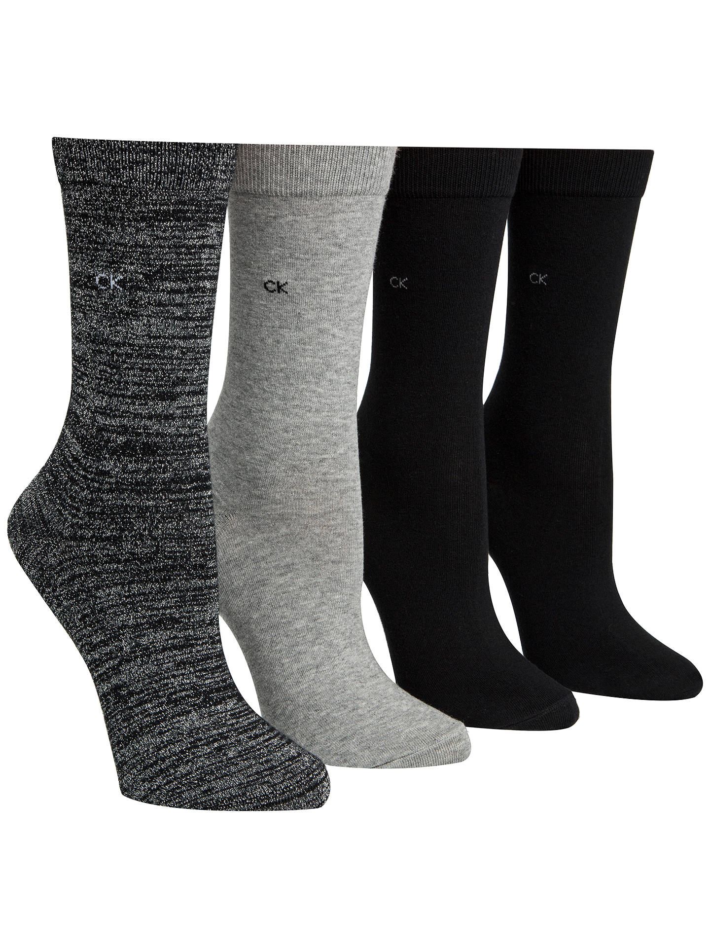 BuyCalvin Klein Holiday Sparkle Gift Wrap Ankle Socks, Pack of 4, Black/Grey Online at johnlewis.com