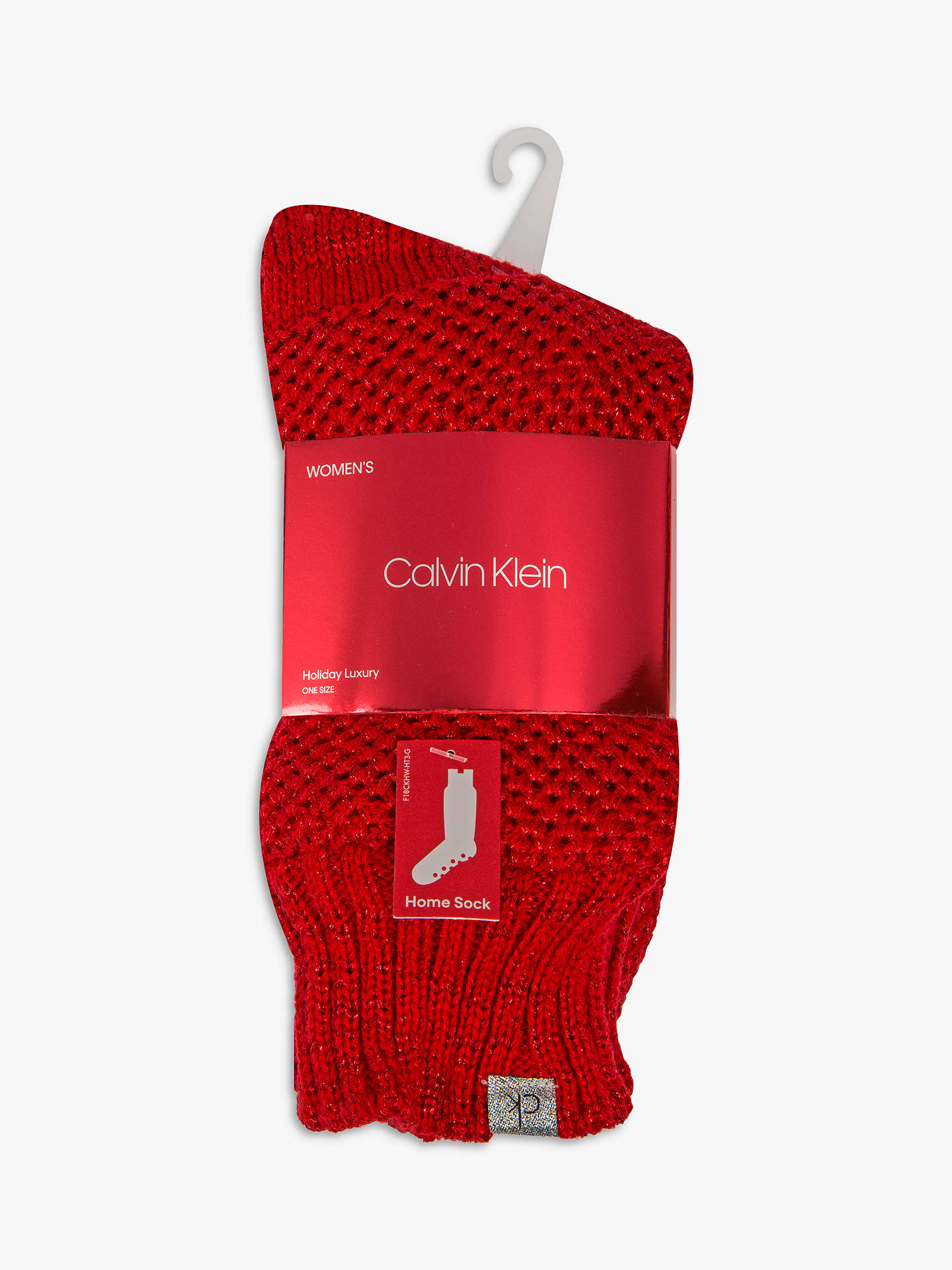 BuyCalvin Klein Holiday Sparkle Chunky Home Socks, Crimson Online at johnlewis.com