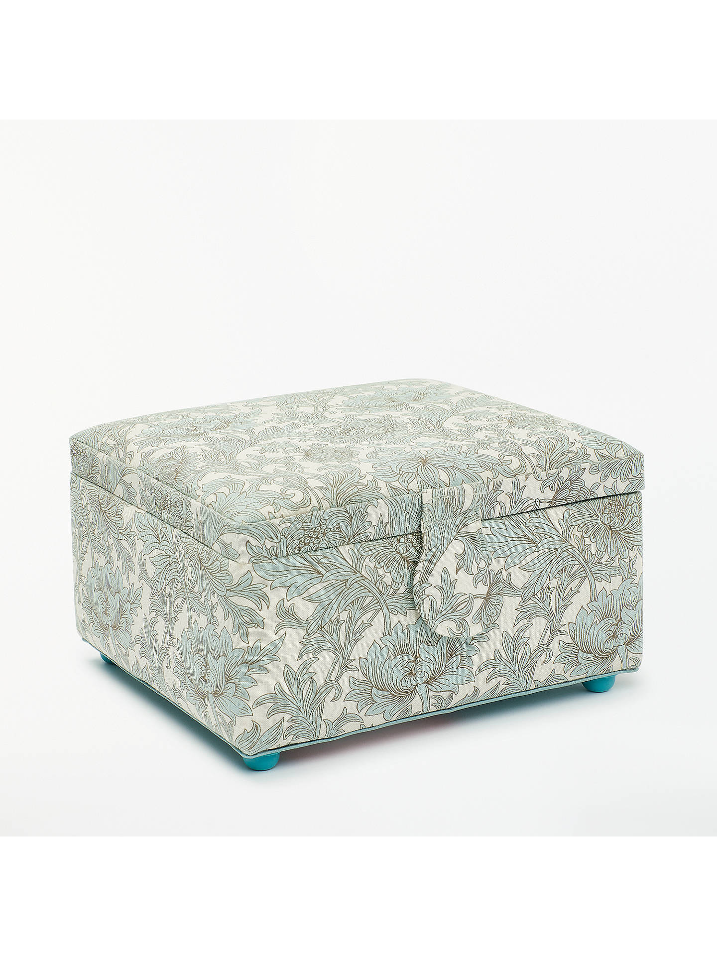 BuyJohn Lewis & Partners Chrysanthemum Print Small Square Sewing Basket, Green Online at johnlewis.com