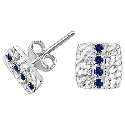Dower & Hall Lumiere Sterling Silver Square Sapphire Stud Earrings