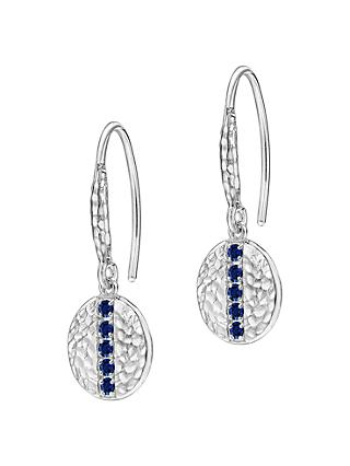 Dower & Hall Lumiere Sterling Silver Geo Sapphire Drop Earrings