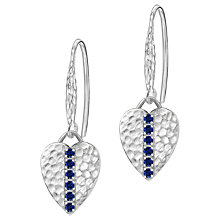 Buy Dower & Hall Lumiere Sterling Silver Heart Sapphire Drop Earrings Online at johnlewis.com
