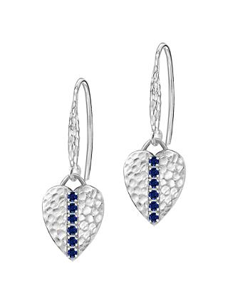 Dower & Hall Lumiere Sterling Silver Heart Sapphire Drop Earrings