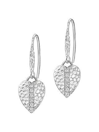 Dower Hall Lumiere Sterling Silver Heart Shire Drop Earrings