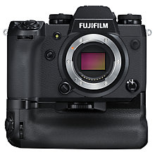 "Buy Fujifilm X-H1 Compact System Camera, 4K Ultra HD, 24.3MP, Wi-Fi, Bluetooth, OLED EVF, In-Body Image Stabilisation & 3"" Tiltable LCD Touch Screen, Body Only, Black with Vertical Power Booster Grip Online at johnlewis.com"