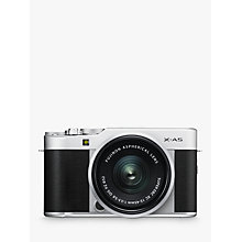 "Buy Fujifilm X-A5 Compact System Camera with XC 15-45mm OIS Lens, 4K Ultra HD, 24.2MP, Wi-Fi, Bluetooth, 3"" Tiltable LCD Touch Screen Online at johnlewis.com"