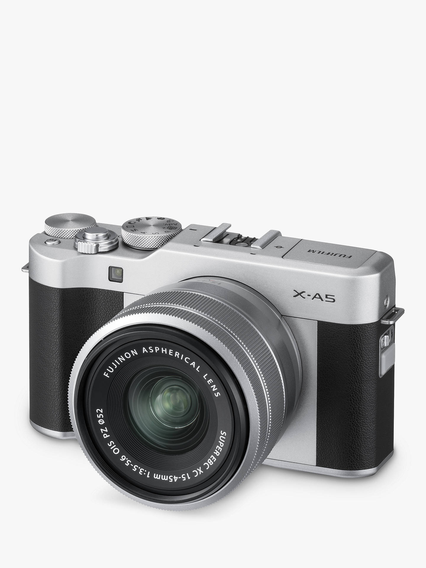 "Buy Fujifilm X-A5 Compact System Camera with XC 15-45mm OIS Lens, 4K Ultra HD, 24.2MP, Wi-Fi, Bluetooth, 3"" Tiltable LCD Touch Screen, Black & Silver Online at johnlewis.com"