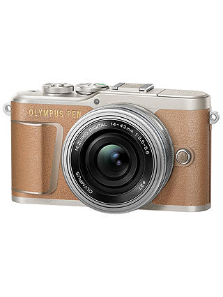 "Buy Olympus PEN E-PL9 Compact System Camera with 14-42mm EZ Lens, 4K Ultra HD, 16.1MP, Wi-Fi, Bluetooth, 3"" Tiltable LCD Touch Screen, Brown Online at johnlewis.com"