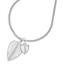 Buy Dower & Hall White Sapphire Double Hammered Heart Pendant Necklace, Silver Online at johnlewis.com