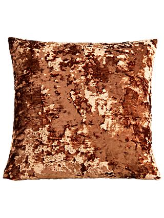 west elm Pressed Velvet Cushion, Orange