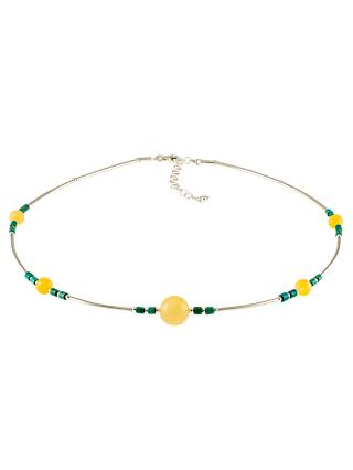 Be-Jewelled Milky Beaded Sterling Silver Necklace, Amber