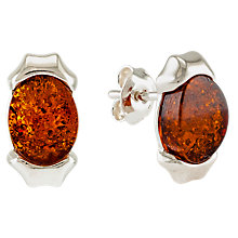 Buy Be-Jewelled Sterling Silver Oblong Cognac Earrings Online at johnlewis.com