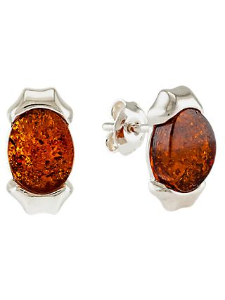 Be-Jewelled Sterling Silver Oblong Cognac Earrings