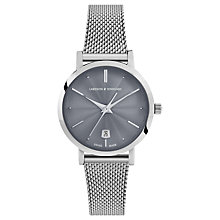 Buy Larsson & Jennings LGN26A-CMSLV-CSG-Q-P-SGRY-O Women's Aurora Date Milanese Bracelet Strap Watch, Silver/Grey Online at johnlewis.com