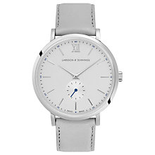 Buy Larsson & Jennings LGN38K-LLGRY-C-Q-P-SLG-O Unisex Jura Leather Strap Watch, Grey/White Online at johnlewis.com