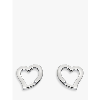 Image of  			   			  			   			  Hot Diamonds Sterling Silver Curved Heart Stud Earrings, Silver
