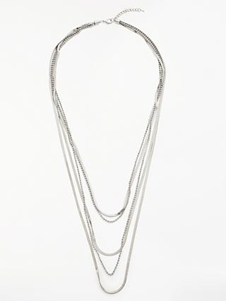 John Lewis & Partners Silver Sparkle Layered Necklace