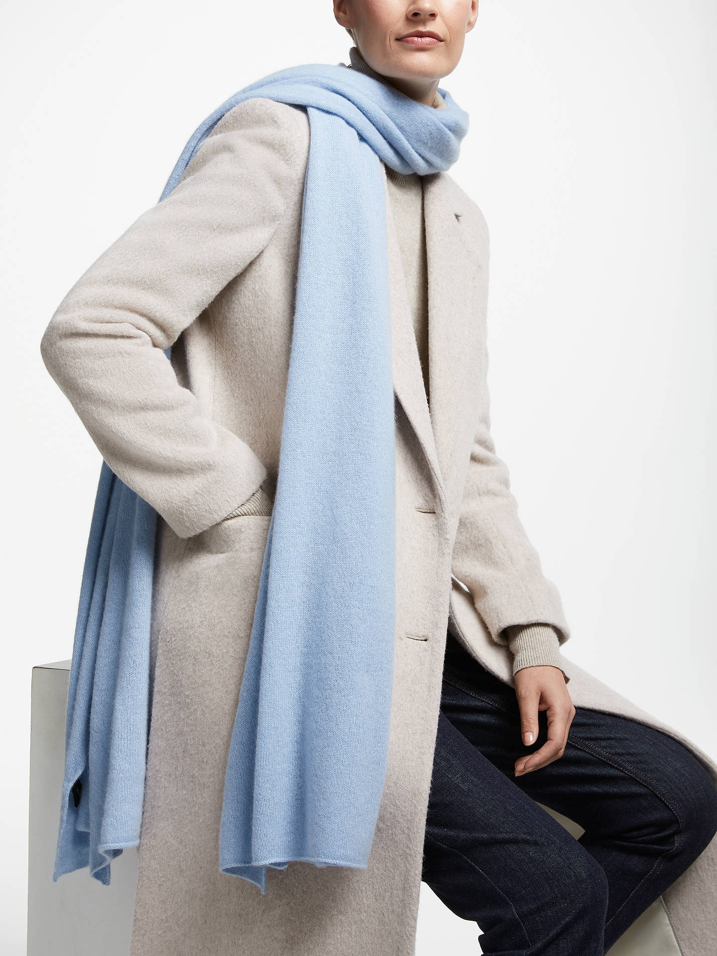 BuyJohn Lewis & Partners Cashmere Travel Wrap, Light Blue Online at johnlewis.com