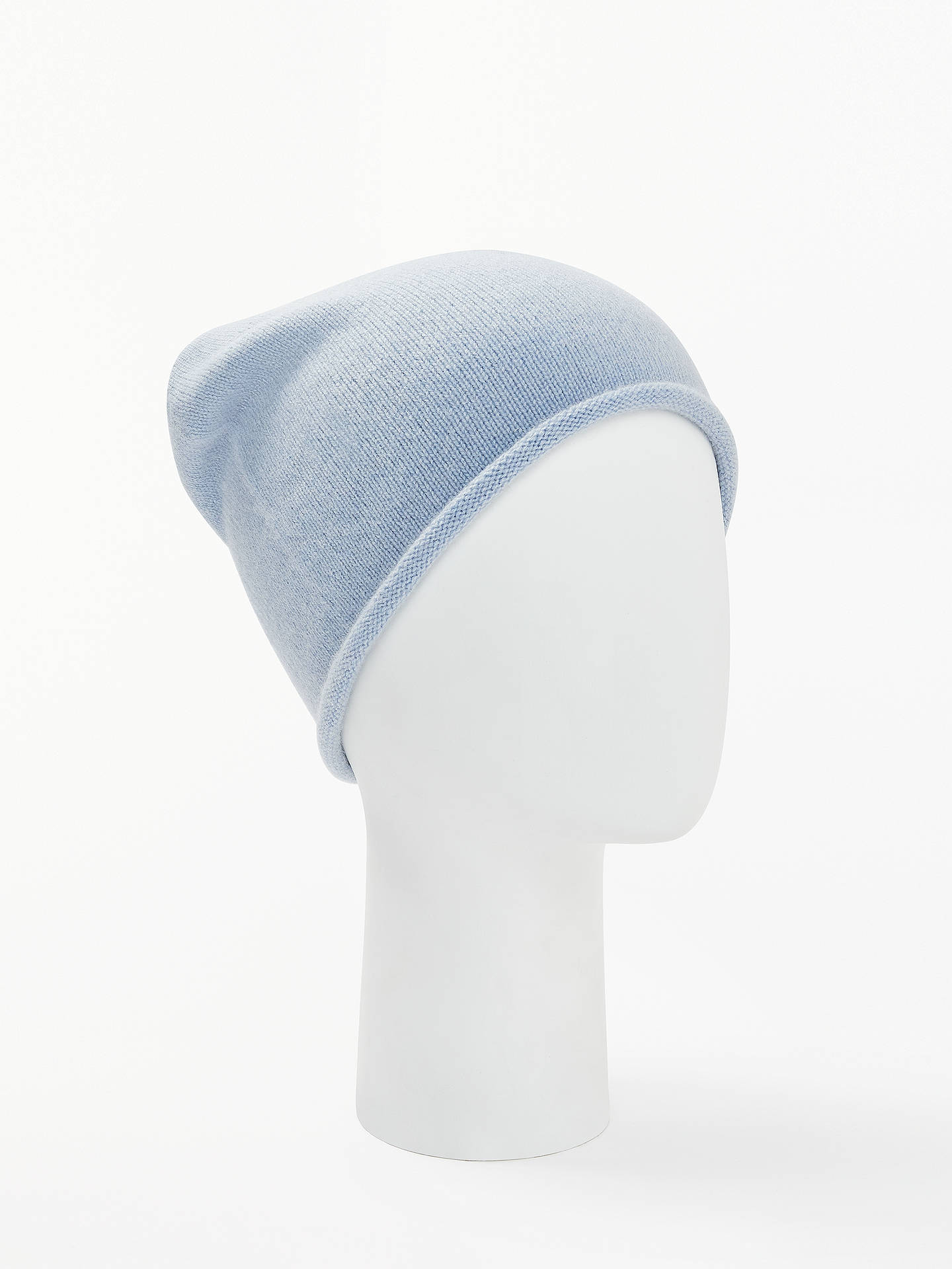 1116f2cb3 John Lewis & Partners Cashmere Roll Beanie, Light Blue
