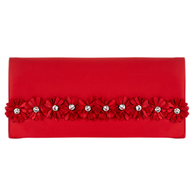 Adrianna Papell Laser Cut Flower Clutch Handbag, Red