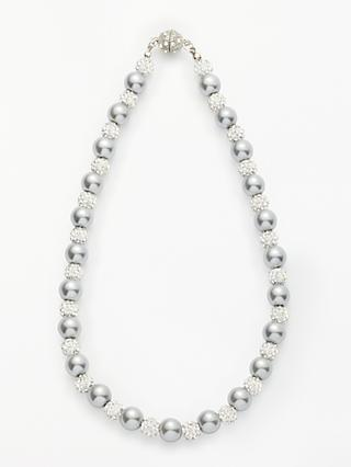 John Lewis & Partners Faux Pearl and Glass Beaded Magnetic Necklace, Silver
