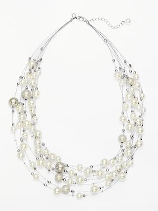 John Lewis & Partners Faux Pearl Layered Necklace, Silver