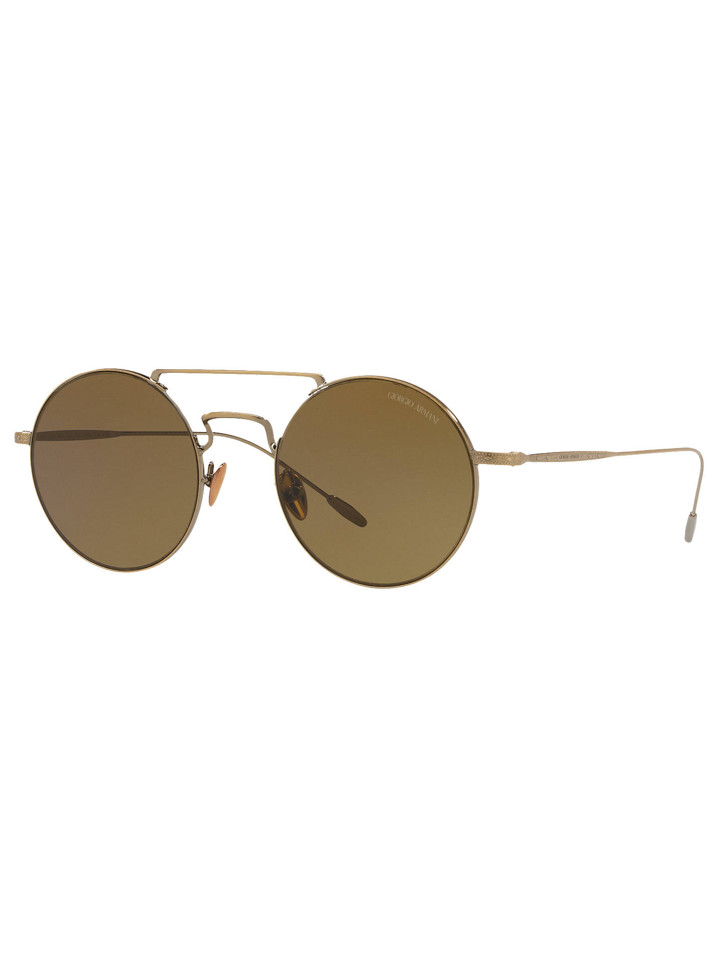 0ed77d84 Giorgio Armani AR6072 Men's Frames of Life Round Sunglasses, Gold/Brown