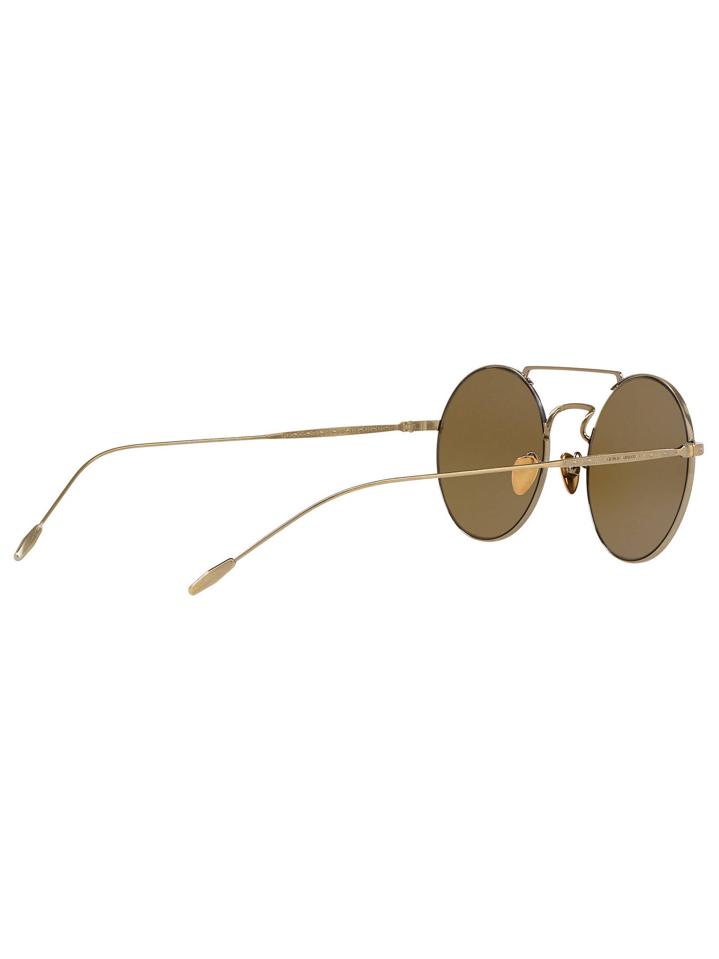 604dfe31c ... Buy Giorgio Armani AR6072 Men's Frames of Life Round Sunglasses,  Gold/Brown Online at ...