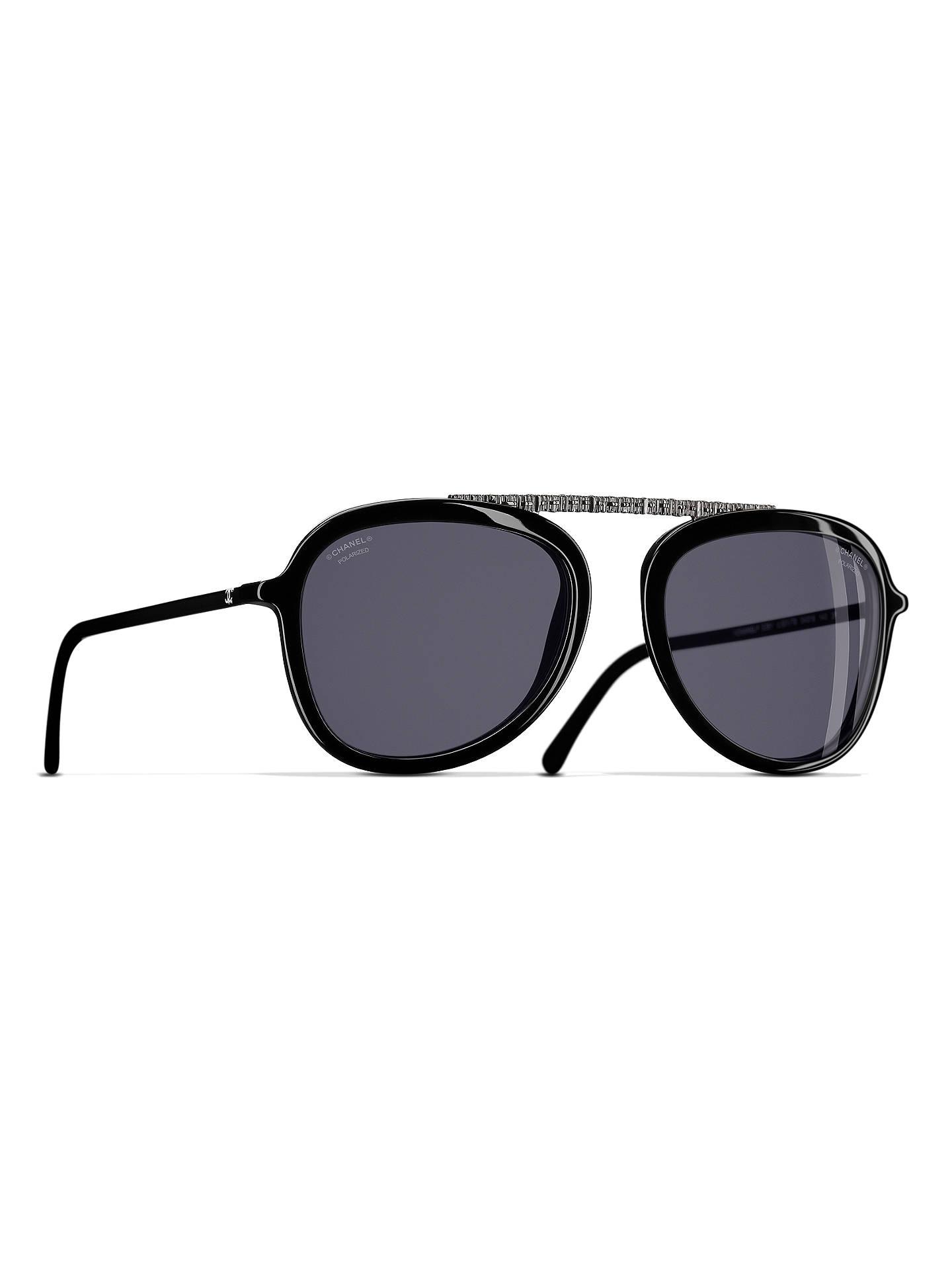 BuyCHANEL Polarised Pilot Sunglasses CH5381 Black Online at johnlewis.com  ... 80d2941b5d5