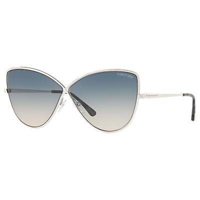 TOM FORD FT0569 Elise-02 Cat's Eye Sunglasses, Silver/Blue Gradient