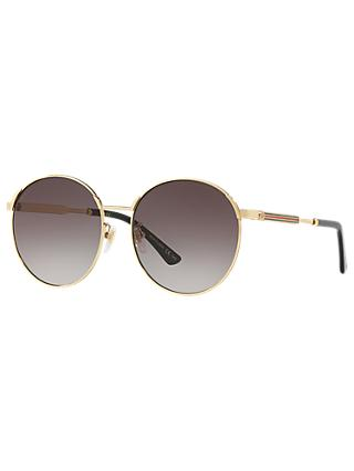 Gucci GG0206SK Oval Sunglasses, Gold/Grey Gradient